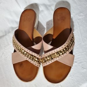 Italian Leather Studded Sandal Slides 38 fx